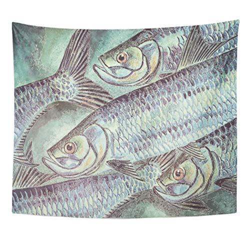 Tarpon Hanging - Semtomn Tapestry Artwork Wall Hanging Watercolor Sea Original Tarpon Sport Fish Fishing Angling Angler 60x80 Inches Home Decor Tapestries Mattress Tablecloth Curtain Print
