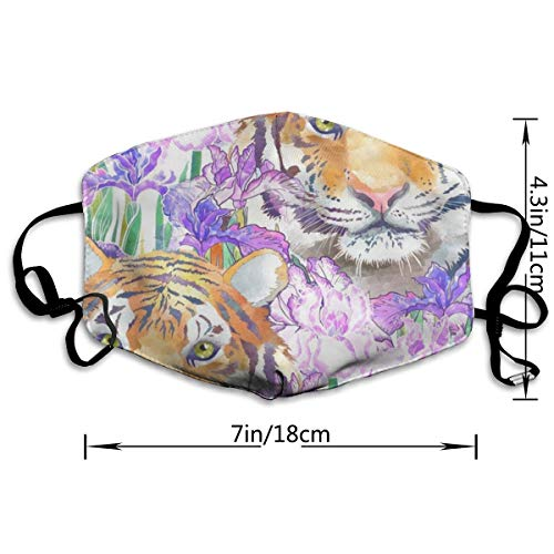 Dust Mask Tigers and Flowers Fashion Anti-dust Reusable Cotton Comfy Breathable Safety Mouth Masks Half Face Mask for Women Man Running Cycling Outdoor