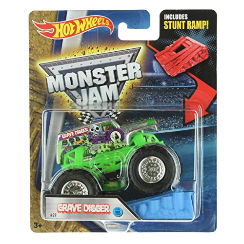 Hot Wheels Monster Jam Grave Digger Silver 2016 New Look Includes Stunt Ramp #29 (Best Perennials For Graves)
