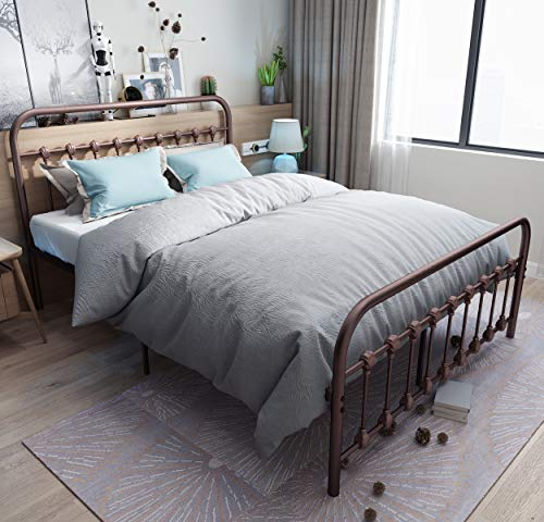 URODECOR Metal Bed Frame with Headboard and Footboard Mattress Foundation The Country Style Iron Platform Bed, Antique Bronze,Queen Size ()