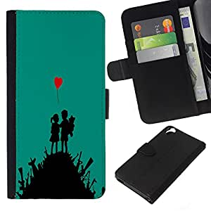 KLONGSHOP // Tirón de la caja Cartera de cuero con ranuras para tarjetas - Lucha lindo del arte del amor del muchacho del corazón Guerra Chica - HTC Desire 820 //