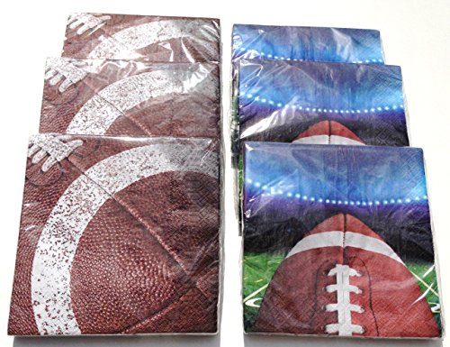 Closeout Football (Party Celebrations Football Tailgating Rush Disposable Napkins, Pack of 6)
