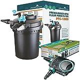 12000L Druckfilter + 11w UVC Sterilisator + 8000L/H Teichpumpe +10 Meter Teichschlauch Teichfilter Teich Filter