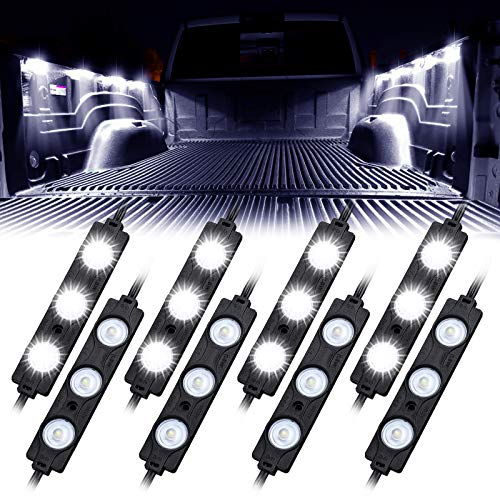 Linkstyle Truck Bed Led Light Kit, 12V 24LEDs Waterproof Rock Lighting Kits for Truck Pickup Off Road Under Car Foot Wells Rail Light Van Trailer Cargo White Light – 8 Pcs
