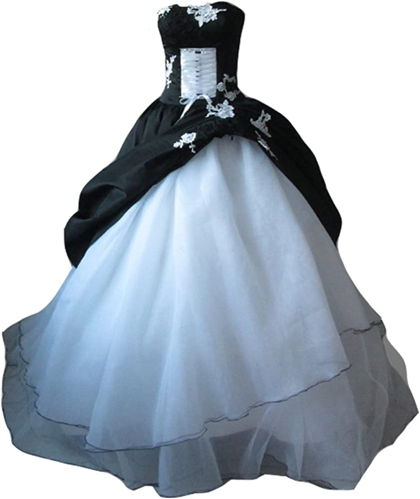 Kivary Women S White And Black Gothic Lace Corset Ball Gown Wedding Dresses At Amazon Women S Clothing Store,Wedding Bridal Dresses Hd
