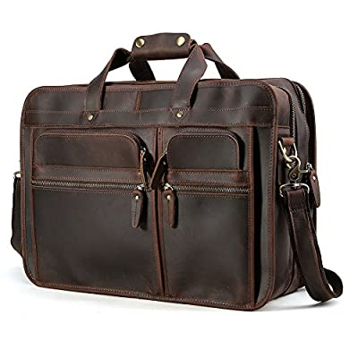 "80%OFF Tiding Cowhide Leather Vintage Laptop Bag – Durable, Spacious, Stylish Carry On Business Bag – Fits 17.3"" Laptop – Perfect for The Busy Businessman"