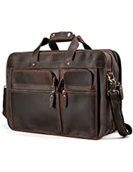 "Tiding Mens Cowhide Leather Vintage Laptop Messenger Bag Business Briefcase Fits 17.3"" Laptop"