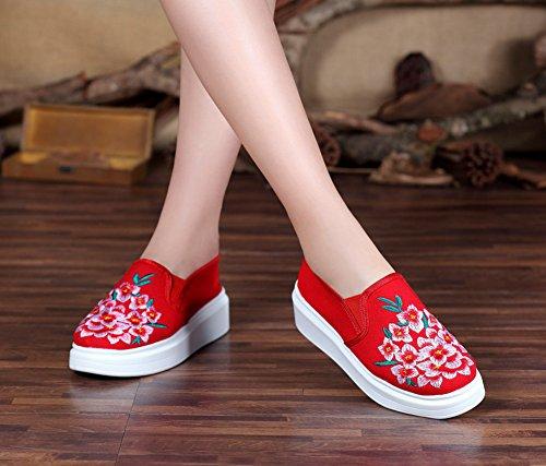 Avacostume Vrouwen Oude Peking Bloemen Borduurwerk Platform Loafer Schoenen Rood