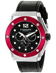 Stuhrling Original Men's 469.33TT1 Special Reserve Apocalypse Midnight Quartz Multi-Function Black Leather Strap Watch