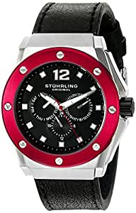 Stuhrling Original Men's 469.33TT1 Special Reserve Apocalypse Midnight Quartz Multi-Function Day and Date Black Leather Strap Watch