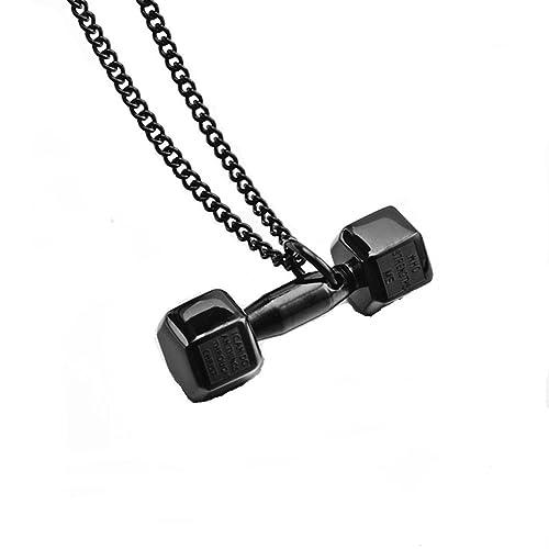 jajafook joyería Mens acero inoxidable Fitness gimnasio mancuernas de pesas Cadena Collar con colgante 4 Color: Amazon.es: Joyería