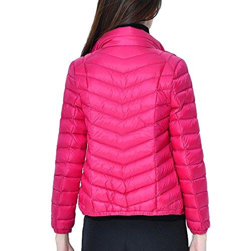Outwear Ultra Bmeigo Donna Parka Collar Leggeri Stand Piumino Windproof Cappotto Rose Giacche wRSqzw8