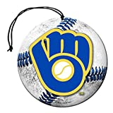 Licensed MLB Milwakee Brewers Nu-Car Scent Baseball Shape W/Logo Air Freshener 3 Pack Set Team Logo w/Gift Box