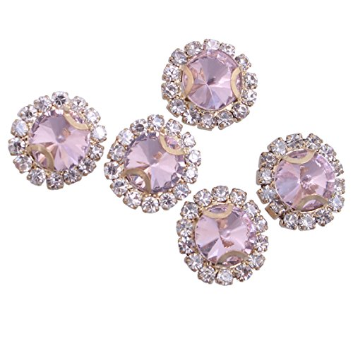 (ZIJING 14pcs Gold Setting Pink Color Round Circle Facets Beads Czech Crystal Rhinestones Elements With 4 Holes for Sew On (Pink Color--14pcs))