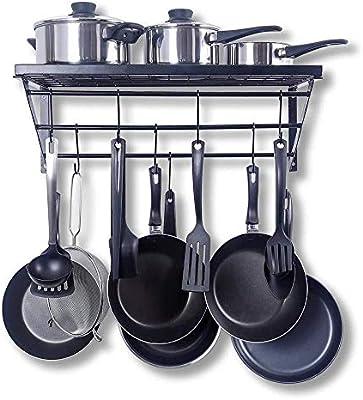 10 Ganci Resistenti a Forma di S per Appendere pentole e pentole da Cucina Nero