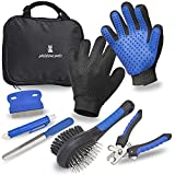 Pristine Pets. Premium Pet Grooming Kit Set - Cats Dogs Pet Grooming Gloves, Nail Clippers and File, Deshedding Ball Pin Brush, Flea Comb, Tick Remover