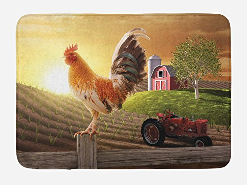Lunarable Country Bath Mat, Farm Barn Yard Image with Rooster Animal Early Bird Nature and Rising Sun Print, Plush Bathroom Decor Mat with Non Slip Backing, 29.5 W X 17.5 L Inches, Brown Red