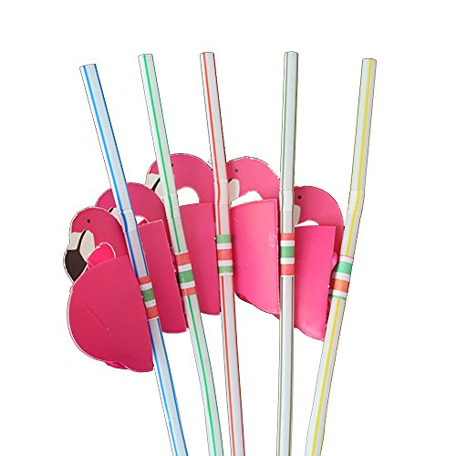 (10Pcs Flamingo Party Straw, Plastic Drinking Straws for Lula Party Supplies/Hawaiian/Birthday/Party)