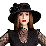 Wool Church Bowler Hats Fedoras Large Wide Brim Flower Mesh Gauze Cloche Hat