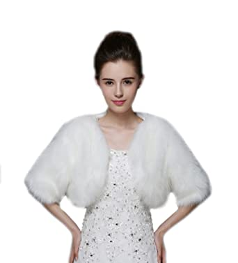 2616eac76 Liveinu Women's 1/2 Sleeves Puffy Faux Fur Wedding Coat Wrap Shawl Bolero  Shrugs for Bridal White at Amazon Women's Coats Shop