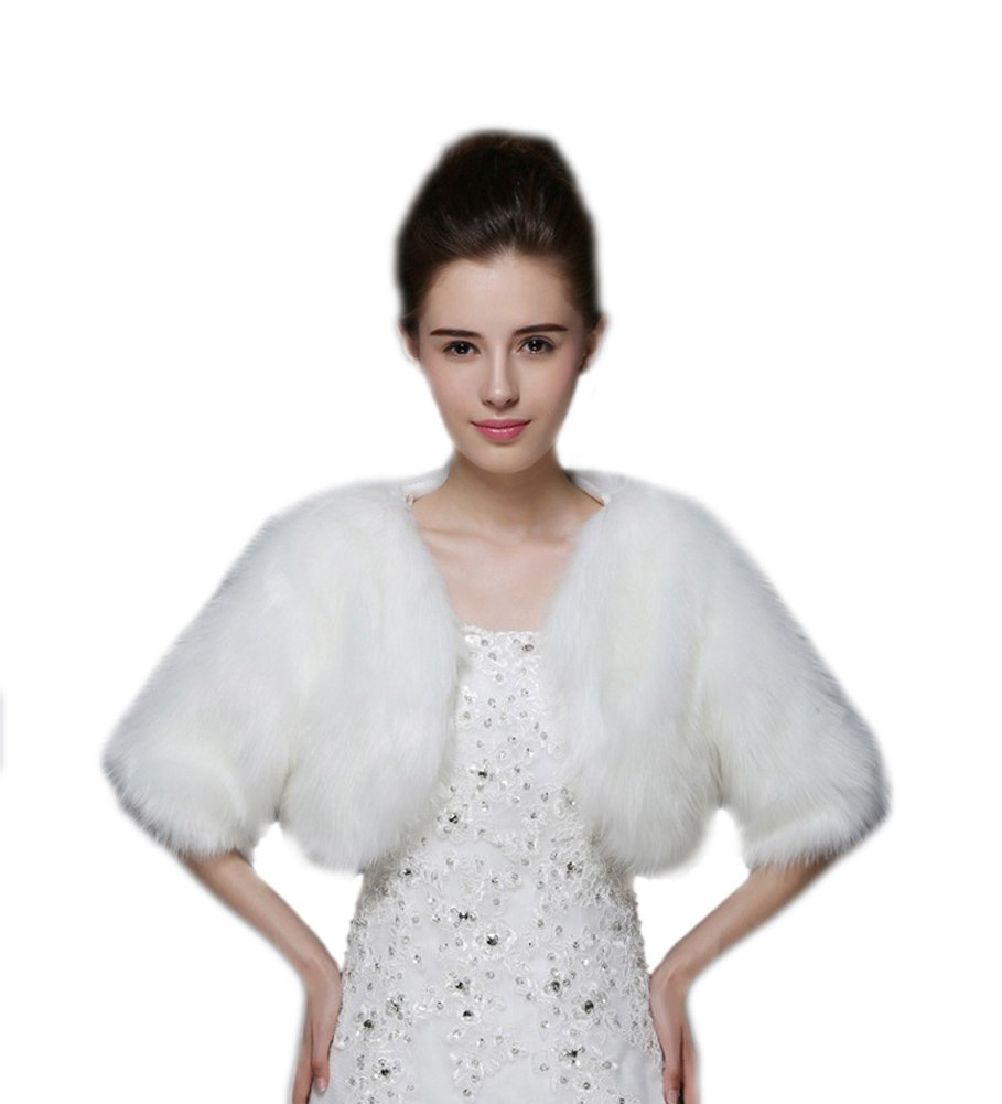 Liveinu Women's 1/2 Sleeves Puffy Faux Fur Wedding Coat Wrap Shawl Bolero Shrugs For Bridal White