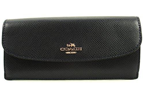 Coach CrossGrain Leather Soft Flat Wallet Midnight F54008