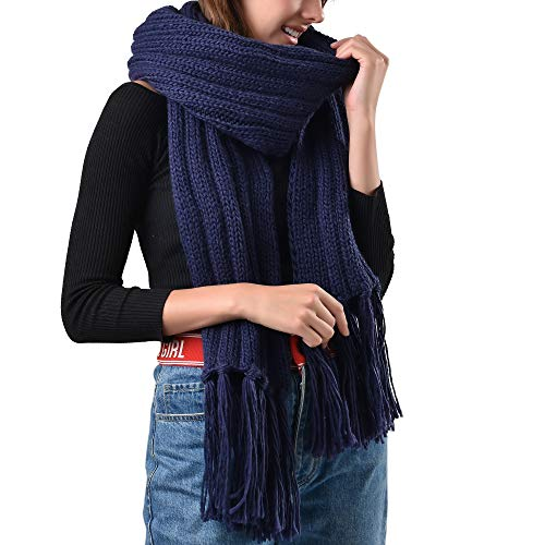 FURTALK Mens Winter Knitted Scarf Oversized Long Crochet Super Chunky Warm Scarfs With Tassels (Navy Blue) (Navy Blue Knitted Scarf)