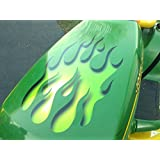 Sour Apple green Flame decal set for ride on Lawn Mower garden tractor Hotrod John Deere