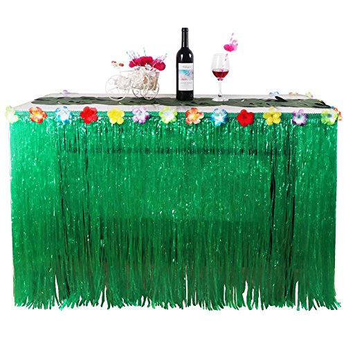 Hawaiian Luau Table Party Skirt 9' Hula Grass Green String - Tiki Hibiscus Faux Flowers | Great for all Events, Parties, Birthday, Celebration & Decorate any Tropical Themed Parties - Aqua Massage Table