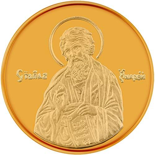 Conmemorativo Moneda Religiosa Medalla de Oro amarillo San Andrés el Apóstol 24Ktes 16 mm 2.25 g 0.07oz