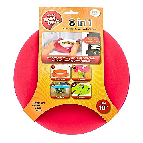 (Micro Easy Grab As Seen on Shark Tank: Multi-Purpose Silicone Microwave Mat, BPA Free Kitchen Tool (RED, 10