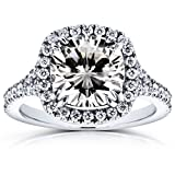 Cushion Moissanite and Diamond Halo Cathedral Ring 3 1/3 CTW 14k White Gold