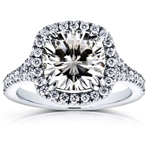 (Cushion Moissanite and Diamond Halo Cathedral Ring 3 1/3 CTW in 14k White Gold)