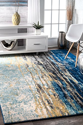 6' Large Area Rug (nuLOOM RZBD04A Traditional Vintage Abstract Waterfall Area Rug, 4' x 6', Blue)