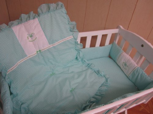 Baby Doll Bedding Gingham Mini Crib/Port-a-Crib Bedding Set, Rocking Horse Mint