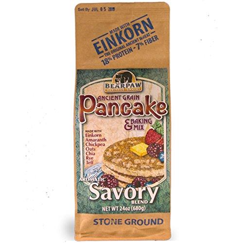 Bearpaw Ancient Grain Pancake Mix, Savory Blend (24 oz), Einkorn, Teff, Amaranth, Chia, Rye, Chickpea, Oats, Bearpaw Grains 861262000319 by Bearpaw Grains