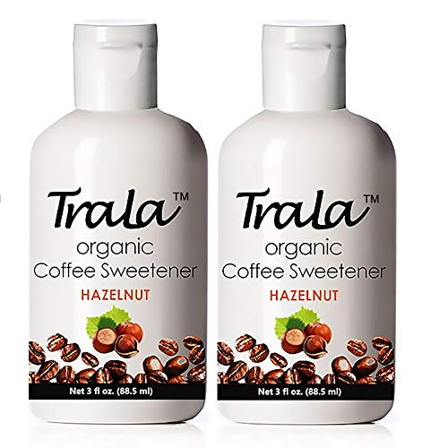 TraLa Certified Organic Coffee Syrup Sweetener - Keto, Vegan & Kosher - For Health Conscious Coffee Lovers - Subtly Sweet, Low Calorie Healthy Sugar Substitute - No Bitter Aftertaste - Hazelnut 2 Pack