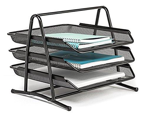 TOROTON Folders Letter Tray, 3 Compartments Mesh Metal Office Desk Organizer Letter Tray -Black