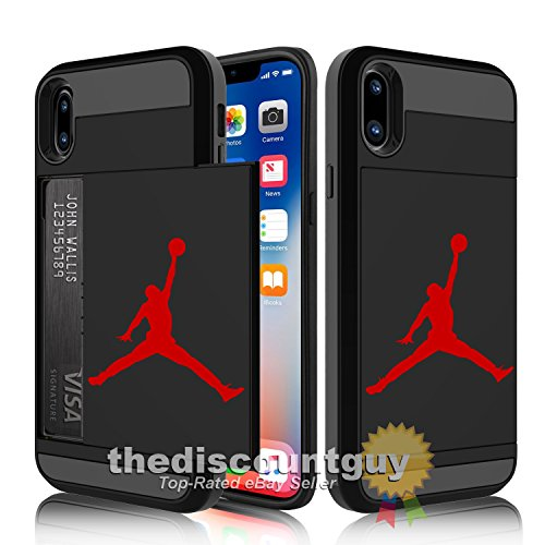 iPhone X - Credit Card ID Storage Slot Dual-Layered Air Basketball Wallet Cash Money Case New Jordan Jumpman Michael Best Durable Cover (v2 - iPhone X - [Black & Red])