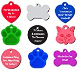 Vet Recommended Pet ID Tag Dog and Cat Personalized | Many Shapes and Colors to Choose From! | MADE IN USA - Strong Anodized Aluminum