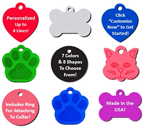 51LGwenJ3vL - Vet Recommended Pet ID Tag Dog and Cat Personalized | Many Shapes and Colors to Choose From! | MADE IN USA, Strong Anodized Aluminum