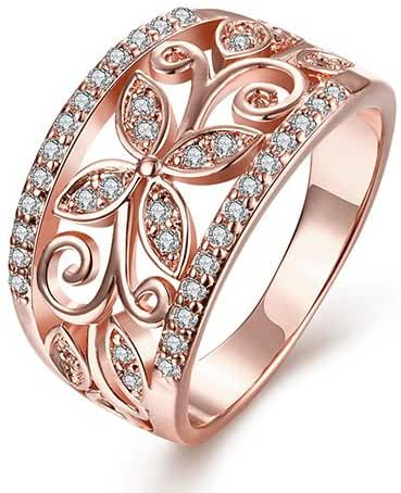Sinosso Rose Gold Plated Flower Hollow Cubic Zirconia Band Engagement Promise Ring