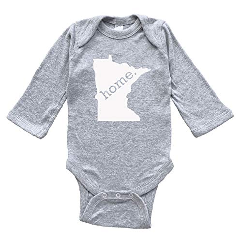 Homeland Tees Minnesota Home Baby Bodysuit Newborn Grey Long Sleeve