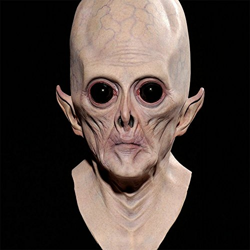 JJLIAN Alien Halloween Latex Full Head Mask Sloth ET Saw Creepy Costume (Halloween Alien)