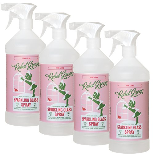(Rebel Green Sparkling Glass Cleaner, Eco Friendly Natural Streak Free Glass and Surface Spray - Pink Lilac Scented, 32 Ounce Bottle, Pack of 4)