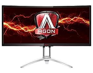 "AOC AGON AG352UCG 35"" Curved Gaming Monitor, G-SYNC, WQHD (3440x1440), VA Panel, 100Hz, 4ms, Height Adjustable, DisplayPort, HDMI, USB 3.0"