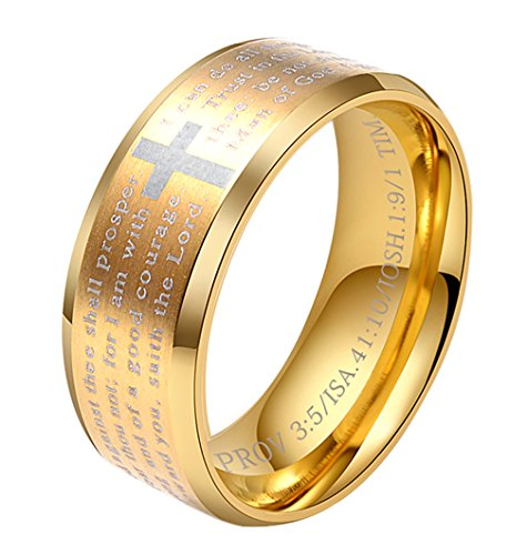 ALEXTINA Men's 8MM Stainless Steel Bible Verse Christian Cross Lord's Prayer Ring Gold Size 12