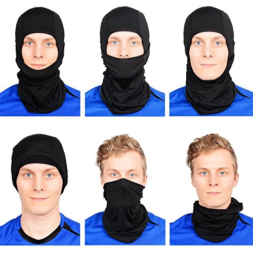 Sports Balaclava 2-Pack Face Mask Motorcycle Helmets Liner Ski Gear Mountain Neck Gaiter by The Friendly Swede (Black) by The Friendly Swede (Image #2)