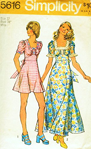 Simplicity 5616 Misses' 1970s Misses' Dress with Gored Shirt in Two Lengths Sewing Pattern, Check Listing for Size 70s Simplicity Sewing Pattern