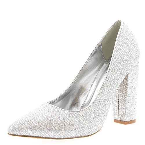 Womens Party Office Shoes Work Pointed Toe Court Shoes Evening Pumps - Silver - US7/EU38 - KL0112
